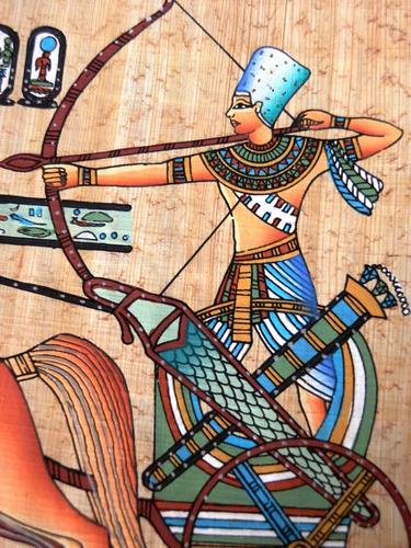 pintura egipcia óleo s/papiro ramsés na guerra frete grátis