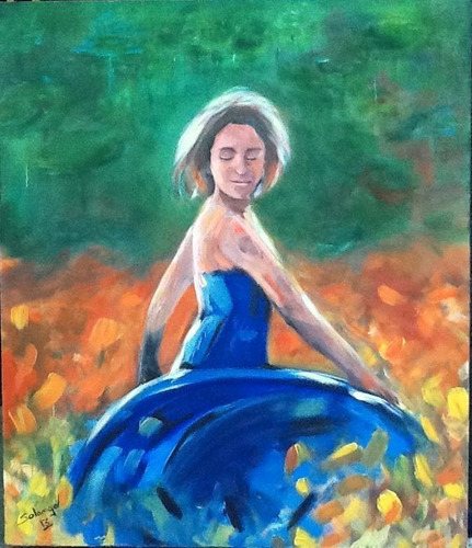 pintura em acrílico sobre tela - dançando na relva.