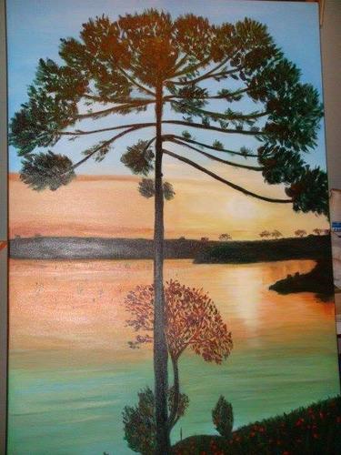 pintura em acrílico sobre tela - lagoa dourada e araucária.