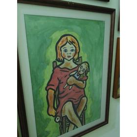 Pintura Em Aquarela Menina Sentada E Boneca - 1956