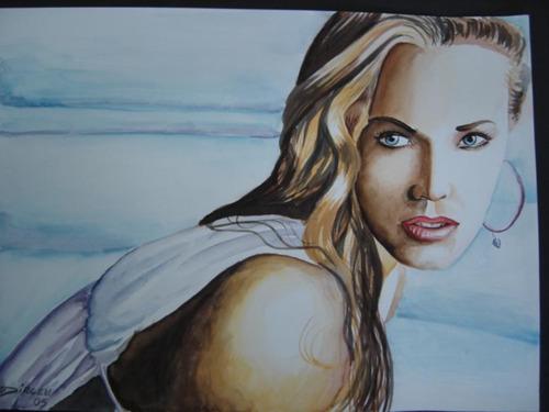 pintura em aquarela mulher