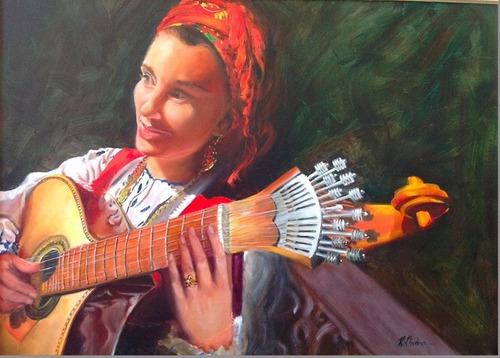 pintura em tela, cantora de fado- original