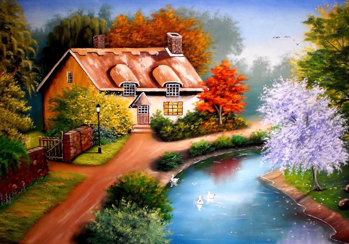 pintura em tela de paisagem 0 80 x 1 50 r 900 00 em mercado livre