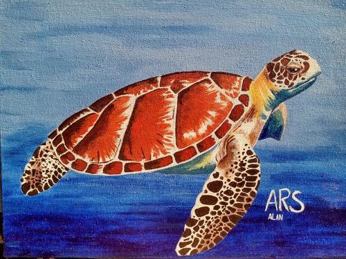 pintura em tela feita com tinta acrílica, tamanho 24x30 cm.