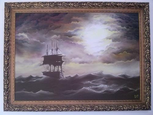 pintura em tela óleo sobre tela barco para sala/escritório.