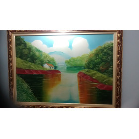 Pintura Em Tela Paisagem Lago