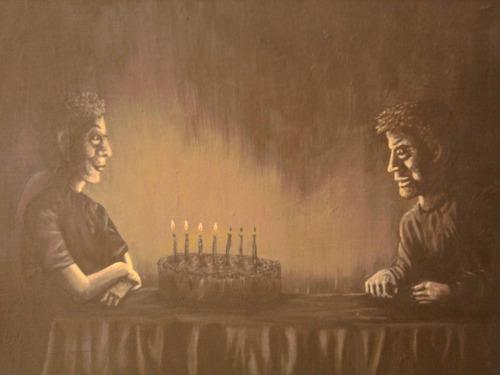 pintura en acrilico   el cumpleaños