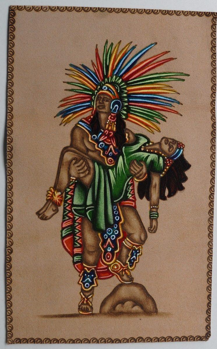 Pintura En Cuero Amor Eterno Cultura Azteca 20000 En Mercado Libre