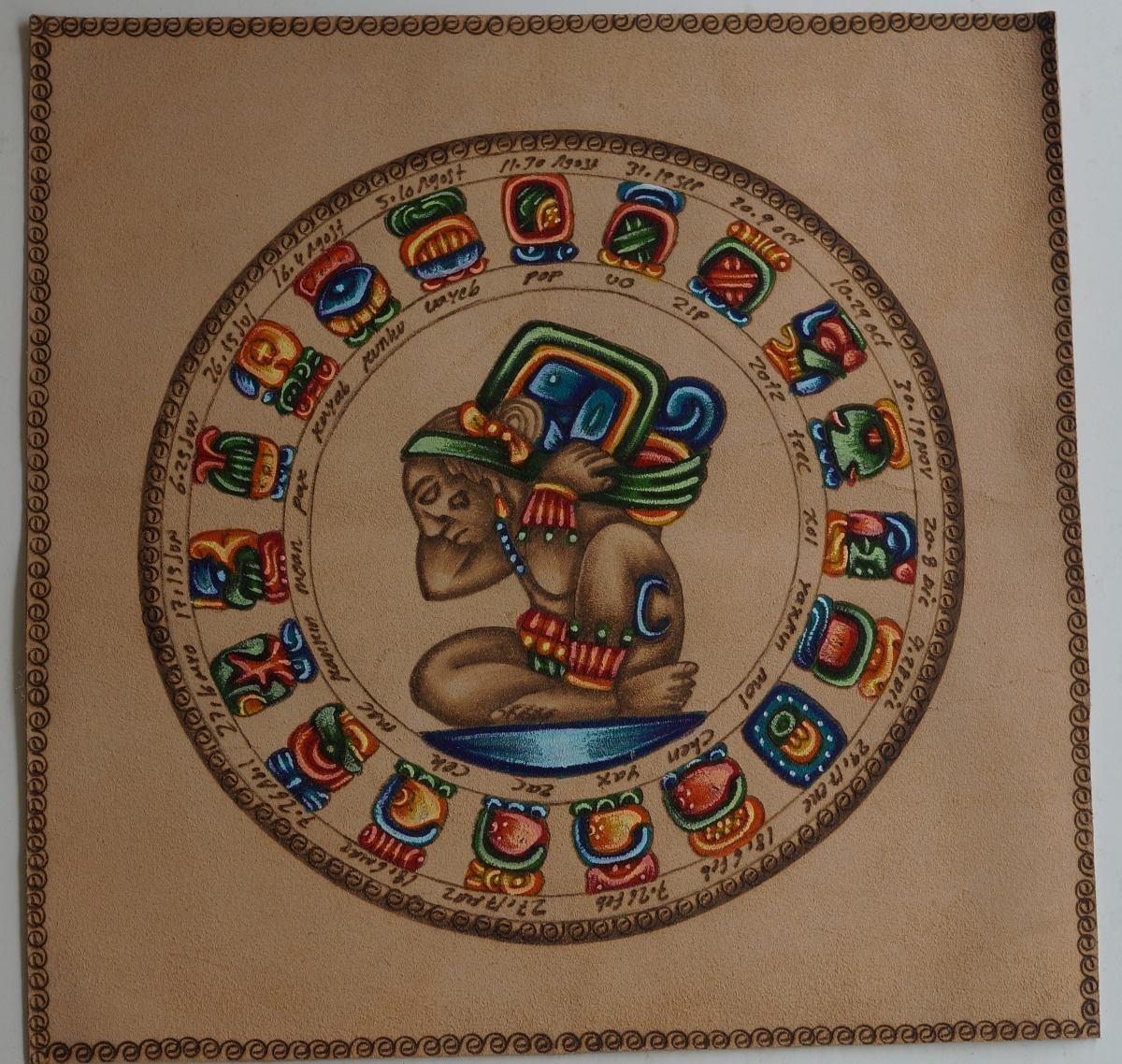 Calendario Azteca.Pintura En Cuero Calendario Azteca Y Maya Chicos
