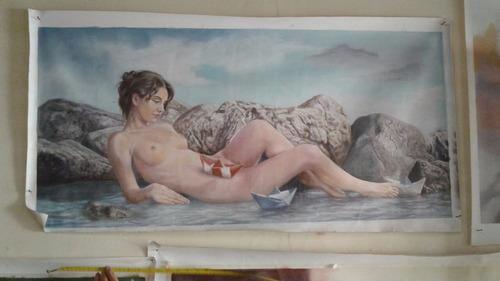 pintura en lienzo mujer desnudo artístico al oleo