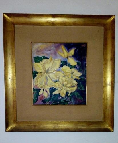 pintura en oleo s/carton firmada marco en oro a la hoja