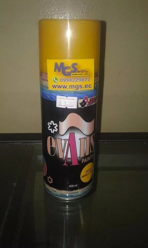 pintura en spray color amarillo medio marca evans paints.
