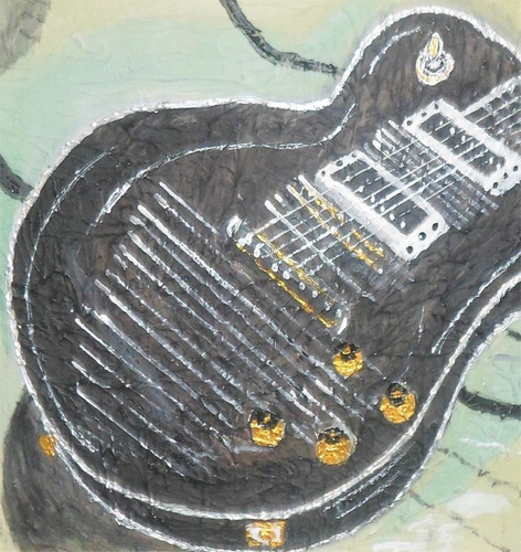pintura feita a mão, óleo sobre tela, texturizado - guitarra