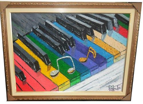 pintura feita a mão, óleo sobre tela, texturizado  - teclas