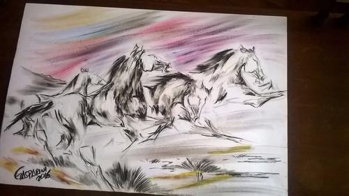 pintura gauchesca caballos al viento atardecer gasparini