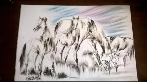 pintura gauchesca caballos pastando gasparini areco