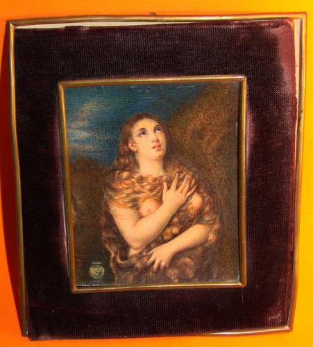 pintura miniatura / desnudo mujer / firmada # 1025