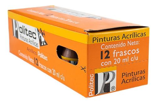 pintura naranja nacarado 20 ml acrílico politec 12 pack arte