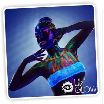pintura neón azul i-glow para el cuerpo glow body fluorescen