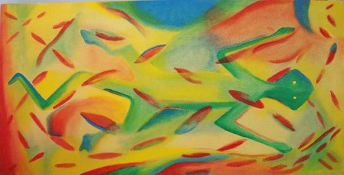 pintura óleo, abstracto, iguana