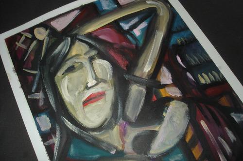 pintura óleo sobre papel canson  a 4- mulher séria