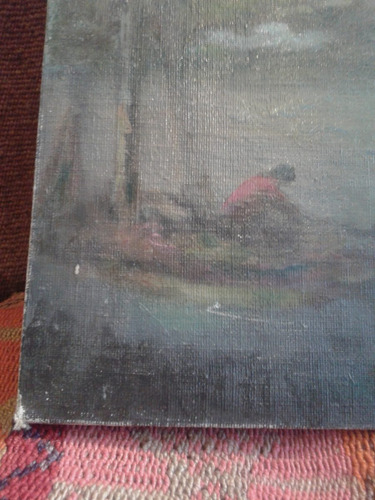 pintura oleo  sobre tela delta rio barco paisaje muelle