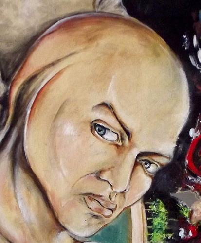 pintura óleo sobre tela mista biscuit cabeças