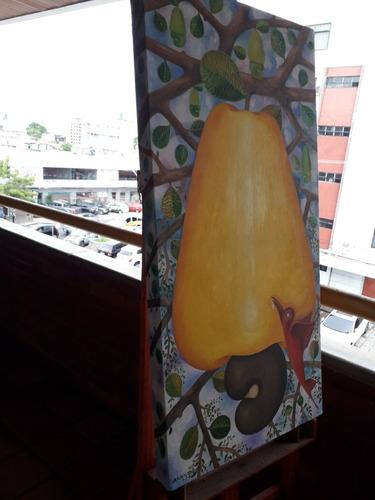 pintura óleo sobre tela  o caju  (amarelo)