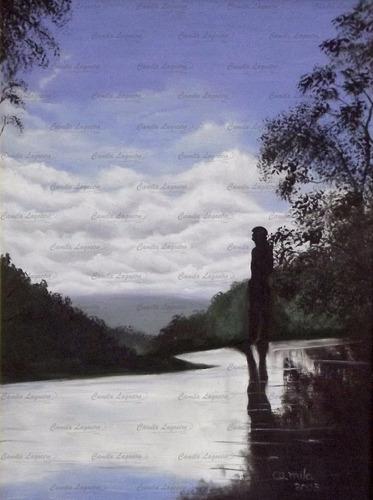 pintura óleo sobre tela sombra índio cores frias