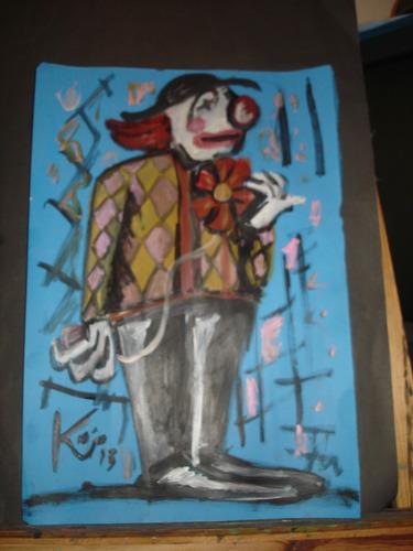 pintura - óleo/acrílica sobre papel cartão a3 - palhação