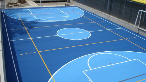 pintura para canchas deportivas en galón blanco y azul