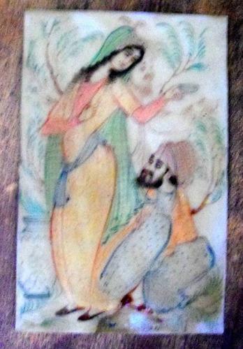 pintura persa sobre material plastico c.195? 14 x 9 cm.