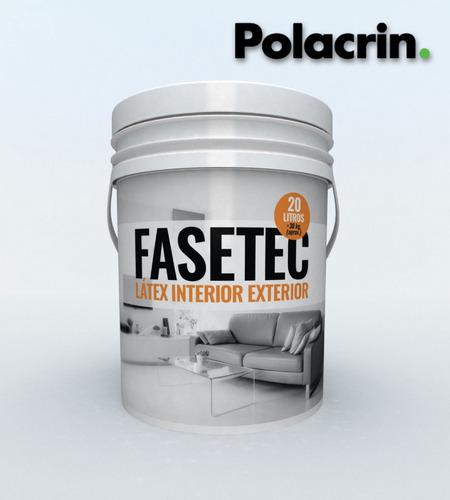 pintura polacrin 20lts lavable interior exterior pared cubritivo latex color blanco fasetec antihongos acrilico mate