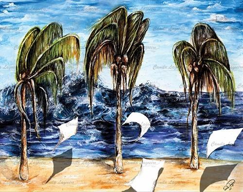 pintura praia coqueiros acrílica