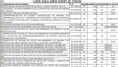 Pintura Presupuesto Tabulador Mano Obra Septiembre 2018