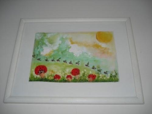 pintura quadro óleo sobre tela - ideal para quarto infantil