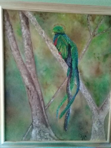 pintura quetzal oleo galería decorativa profesion enap unam.