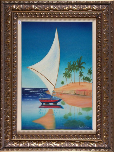 pintura sobre tela - barco a beira mar