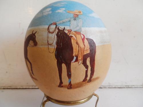 pintura taurina ,charreria en huevo de avestruz