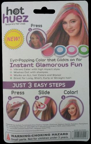 pintura temporal para cabello hot huez paquete c/4 colores