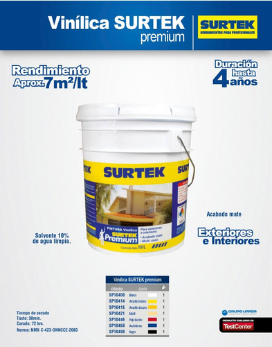 pintura vinílica premium blanca 19l interior exterior surtek