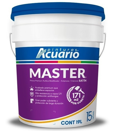 pintura vinílica premium master acuario 19 lts color blanco