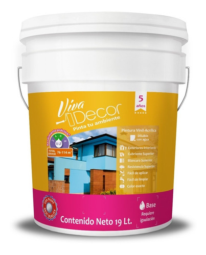 pintura vinílica viva decor acuario 19 litros  color blanco