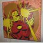 Iron Man Retro Marvel Cuadro Acrílico Pintado A Mano