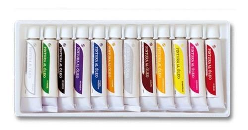 pinturas al oleo sabonis 12 tubos + 12 pinceles envio gratis