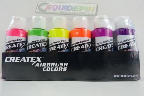 pinturas para aerografo createx set de fluorescente.