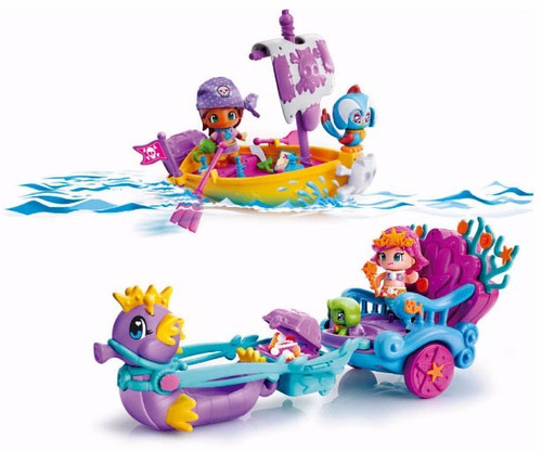 pinypon carruaje de sirenas y barco bote pirata smile