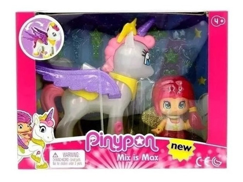 pinypon mix is max unicornio alado y figura con accesorios
