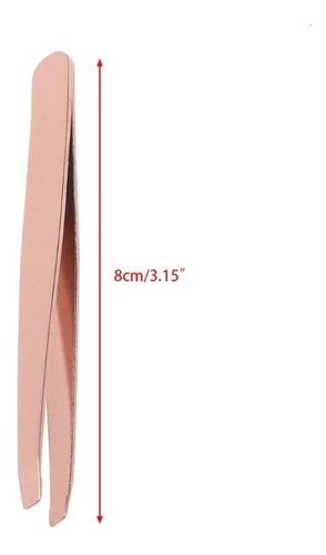 pinza cosmètica 8cm acero color rosa punta inclinada cejas