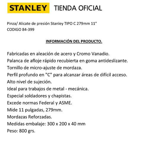 pinza de presion stanley 84-399 tipo c 11 pulgadas de fuerza